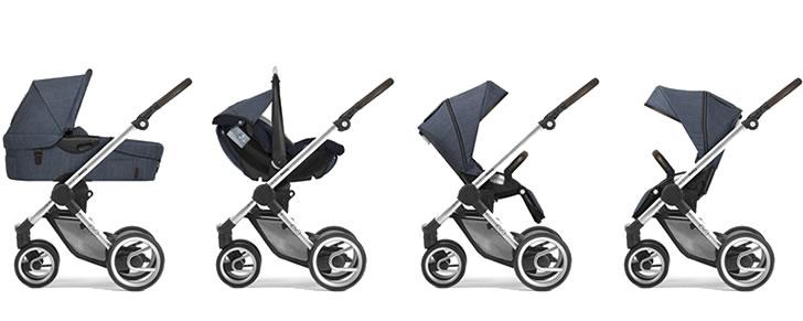 Afbeelding Mutsy Evo Farmer met reiswieg, baby autostoeltje en buggy zitje achterwaarts en voorwaarts