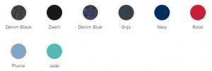 Afbeelding van de verkrijgbare kleuren van de Koelstra Binque Daily kinderwagen: Denim Black, Zwart, Denim Blue, Grijs, Navy, Rood, Plume en Jade