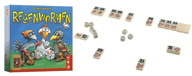 Doos en inhoud van Regenwormen van 999 Games