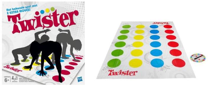 Doos en inhoud van het Twister spel
