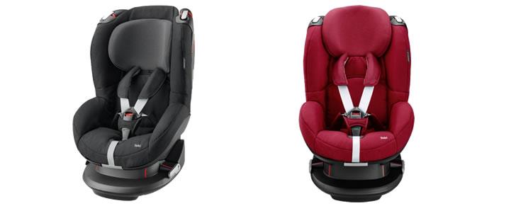 Vooraanzicht zwarte en rode versie van de Maxi-Cosi Tobi autostoeltje groep 1 in Top 10 Beste Autostoeltjes